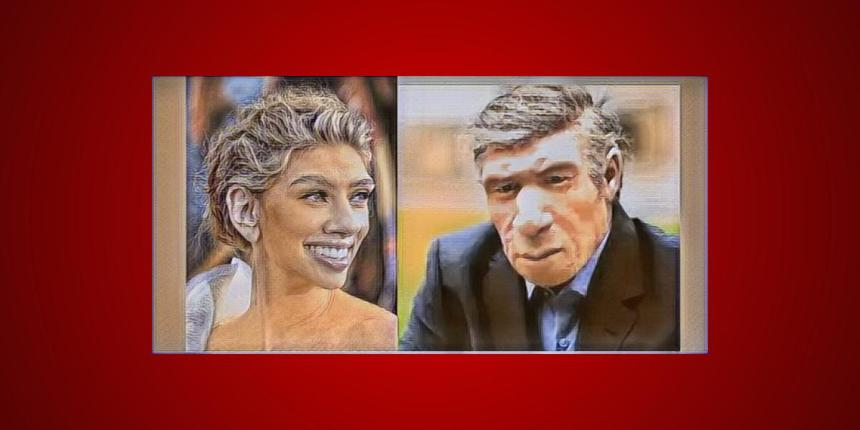 Modern neanderthal man and woman artwork