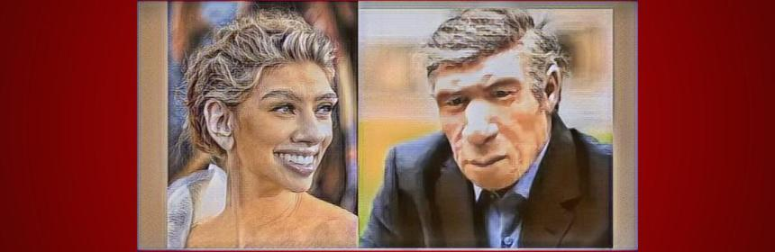 Modern neanderthal man and woman artwork
