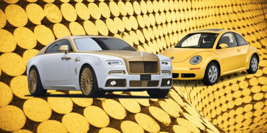 Rolls Royce and Volkswagen cars