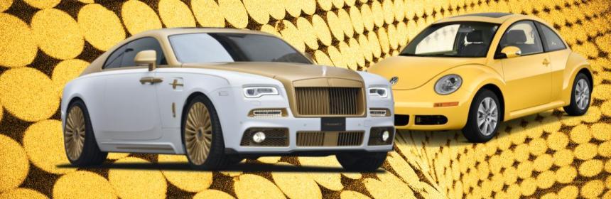 Rolls Royce and Volkswagen cars