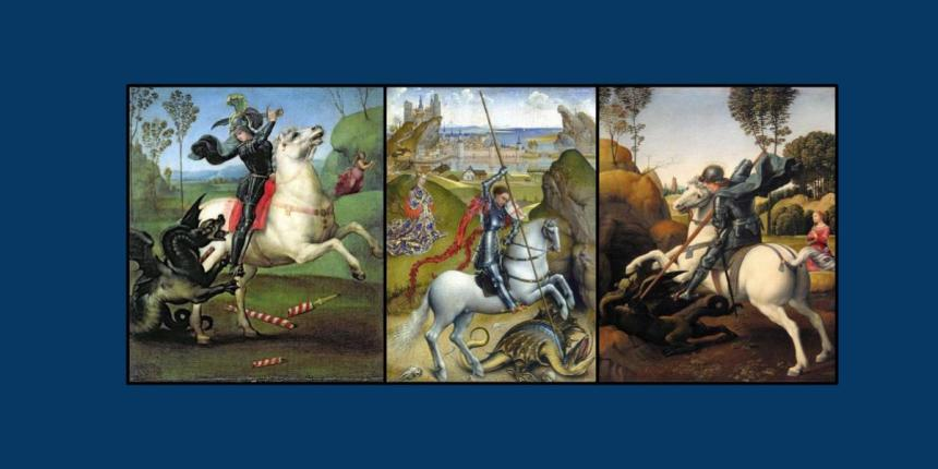 Three artworks of St George and the Dragon