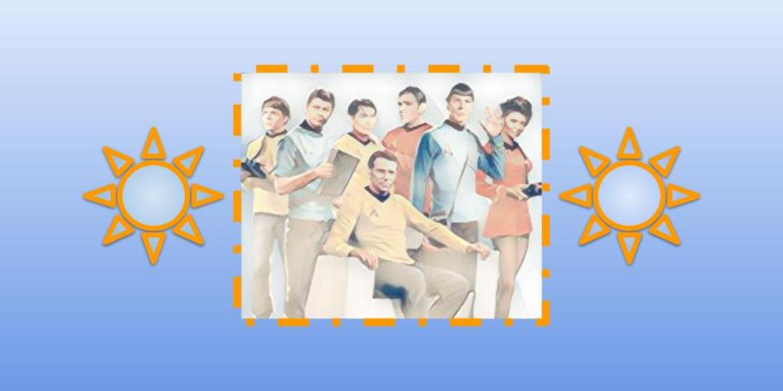 Artwork of original Star Trek crew