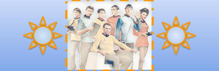 Artwork of original Star Trek crew