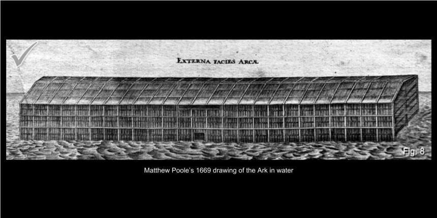 Matthew Poole's 1669 drawing of Noah's Ark in water