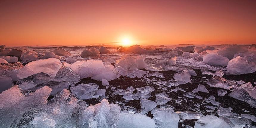 Ice ocean sunset
