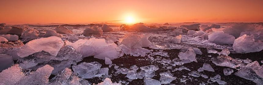 Ice ocean sunset