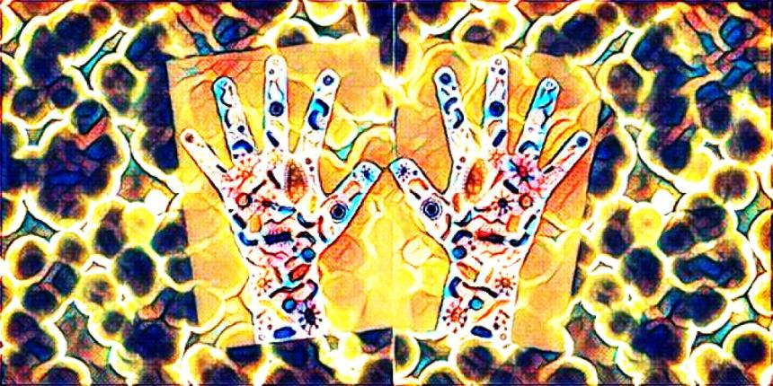 Bacteria and hands artwork