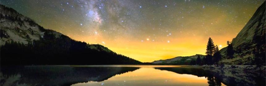 Starlight reflecting in lake